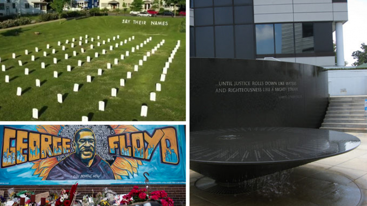 "Collage of public memorial sites including George Floyd mural, ""Say Their Names"" graveyard event, and Martin Luther King memorial"